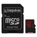 Kingston microSDXC Card 64GB UHS-1 Class U3 + SD Adapter (GoPro compatible)