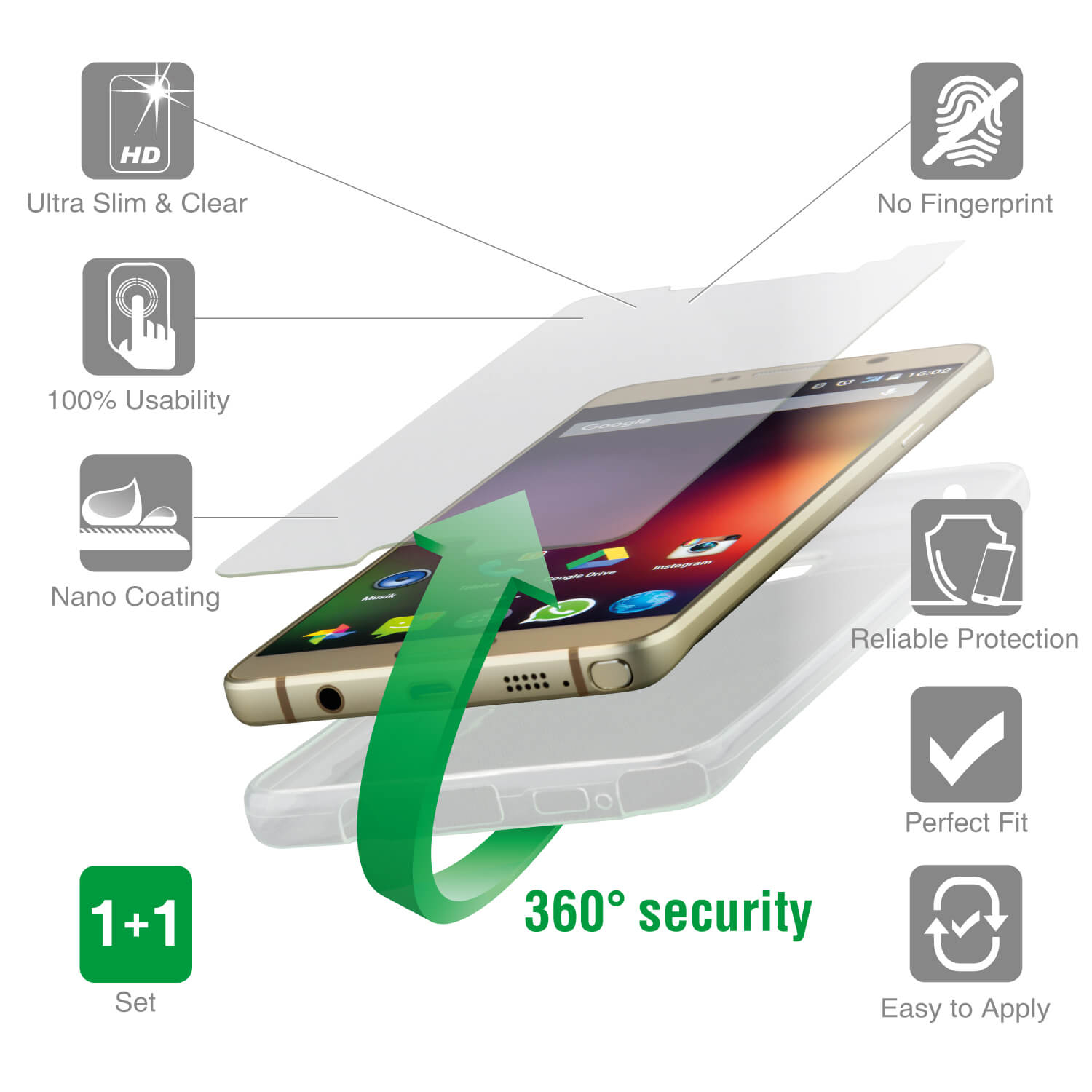 4smarts 360° Protection Set for Huawei P10 (transparent)