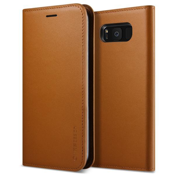 Verus Genuine Leather Diary Case - кожен калъф (естествена кожа), тип портфейл за Samsung Galaxy S8 Plus (кафяв)