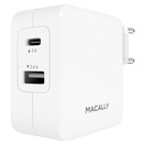 Macally 24W USB-C/USB-A Wall Charger - захранване с USB-A изход и USB-C изход за мобилни телефони и таблети (с включен в комплекта USB-C кабел)