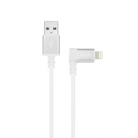 Moshi Lightning to USB Cable 90 degrees - USB кабел за iPhone 8, iPhone 7, 7 Plus, 6/6S, 6/6S Plus, 5/5S/5C/SE, iPad, iPod и всички устройства с Lightning конектор (150 см) (бял)