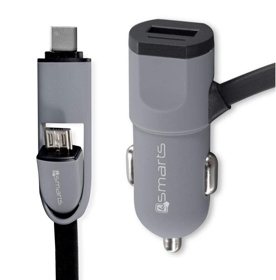 4smarts MultiCord Car Charger 17W, 3.4A MicroUSB + USB-C (black-gray)