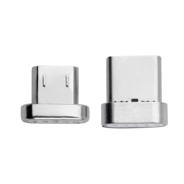4smarts Magnetic USB-C & MicroUSB GravityCord Connectors - магнитни накрайници (за магнитен кабел GravityCord) с USB-C и MicroUSB конектори (сребрист)