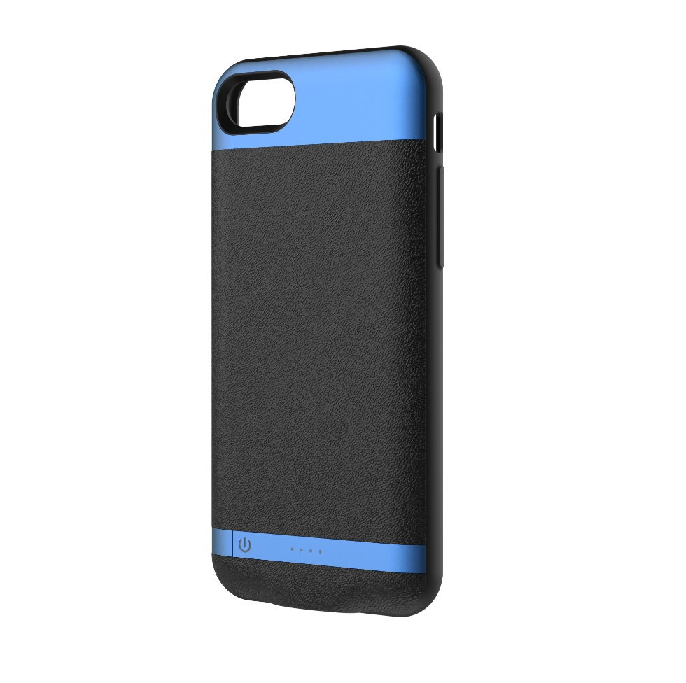 Comma MoreCard 2 Dual Sim and battery 1300mAh case for iPhone 8, iPhone 7 (black-blue)