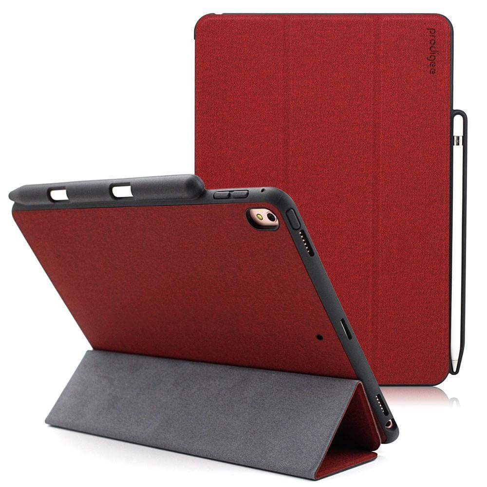 Prodigee Expert Case - кожен калъф, тип папка и поставка за iPad Air 3 (2019),  iPad Pro 10.5 (2017) (червен)