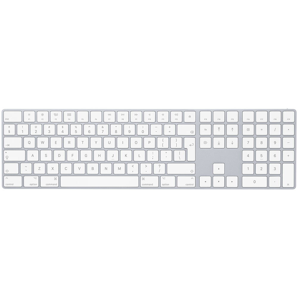 Apple Magic Wireless Keyboard INT with Numeric Keypad - безжична клавиатура за iPad и MacBook (сребрист-бял)