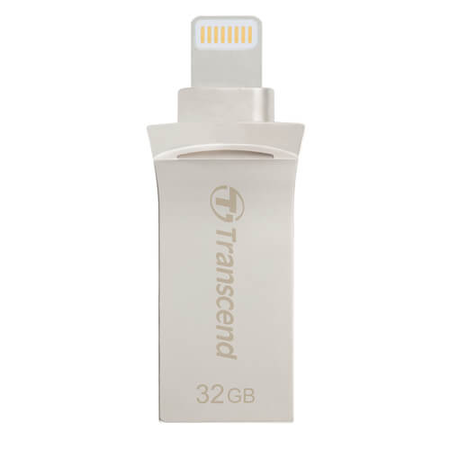 Transcend JetDrive USB 3.1 Go 500S 32GB - външна памет за iPhone, iPad, iPod с Lightning (32GB) (сребрист)
