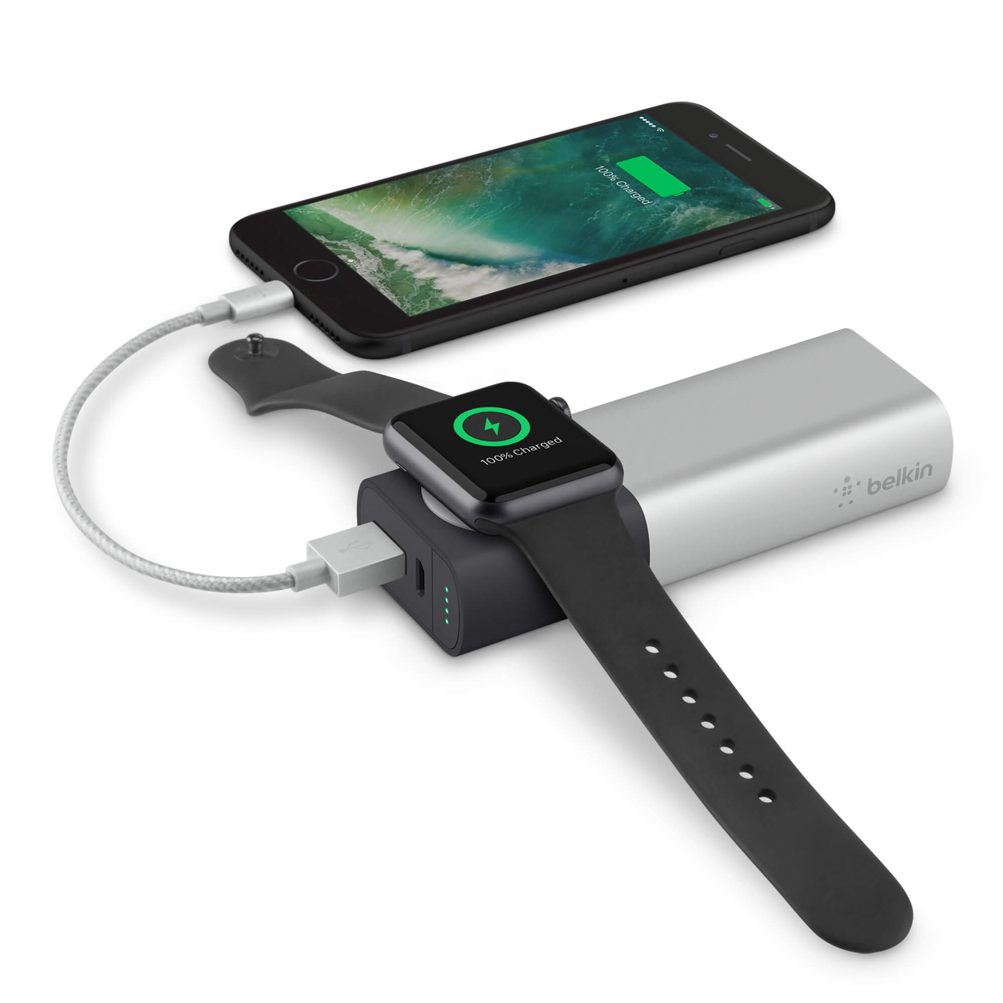 Belkin Valet Charger Power Pack 6700 mAh for Apple Watch+iPhone (silver)