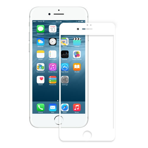 Eiger 3D Glass Curved Tempered Glass for iPhone 8, iPhone 7, iPhone 6/6S (white-clear)