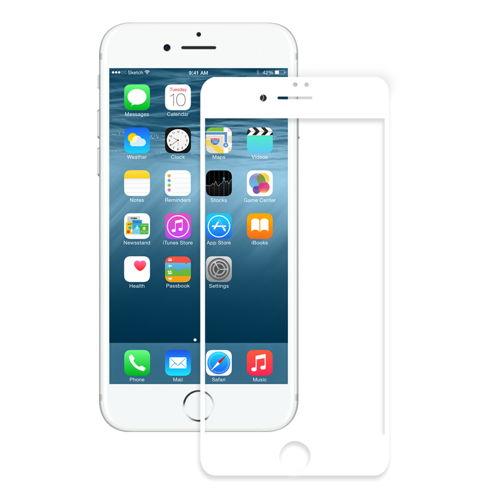 Eiger 3D Glass Curved Tempered Glass - калено стъклено защитно покритие с извити ръбове за целия дисплея на iPhone 8, iPhone 7, iPhone 6/6S (бял-прозрачен)