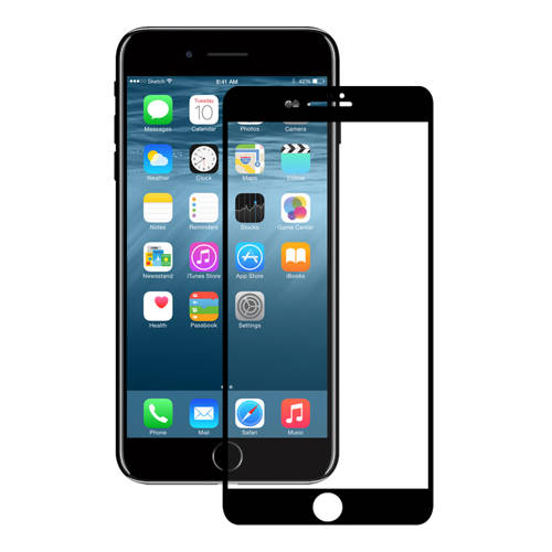 Eiger 3D Glass Case Friendly Curved Tempered Glass for iPhone 8, iPhone 7, iPhone 6/6S (black-clear)