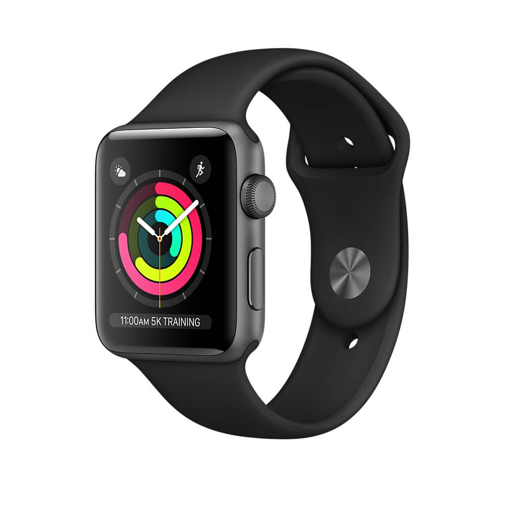 Apple Watch Series 3, 42mm Space Gray Aluminum Case with Black Sport Band - умен часовник от Apple