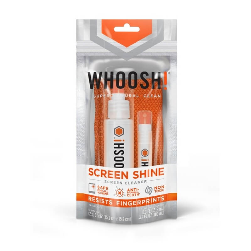 Whoosh DUO+ 100ml. Desk bottle and 8ml. Pocket bottle with cloth