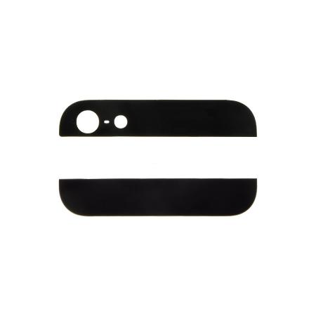 OEM Back Cover Glass - стъклени елементи за горната и долната част от гърба за iPhone 5S (черен)