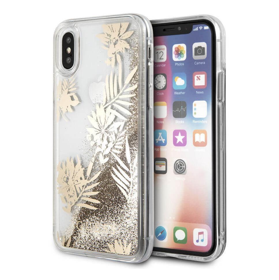Guess Glitter Palm Spring Hard Case - дизайнерски кейс с висока защита за Apple iPhone XS, iPhone X (златист-прозрачен)