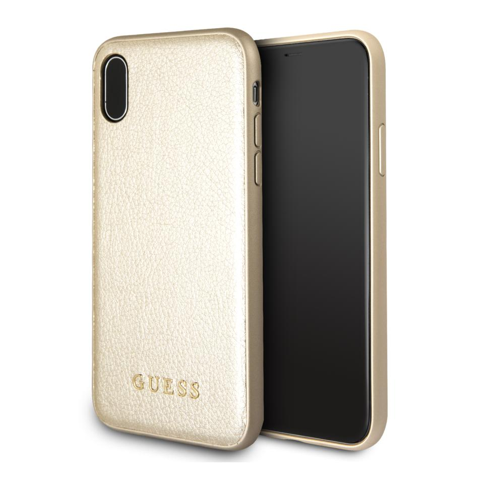 Guess Iridescent Leather Hard Case - дизайнерски кожен кейс за iPhone XS, iPhone X (златист)