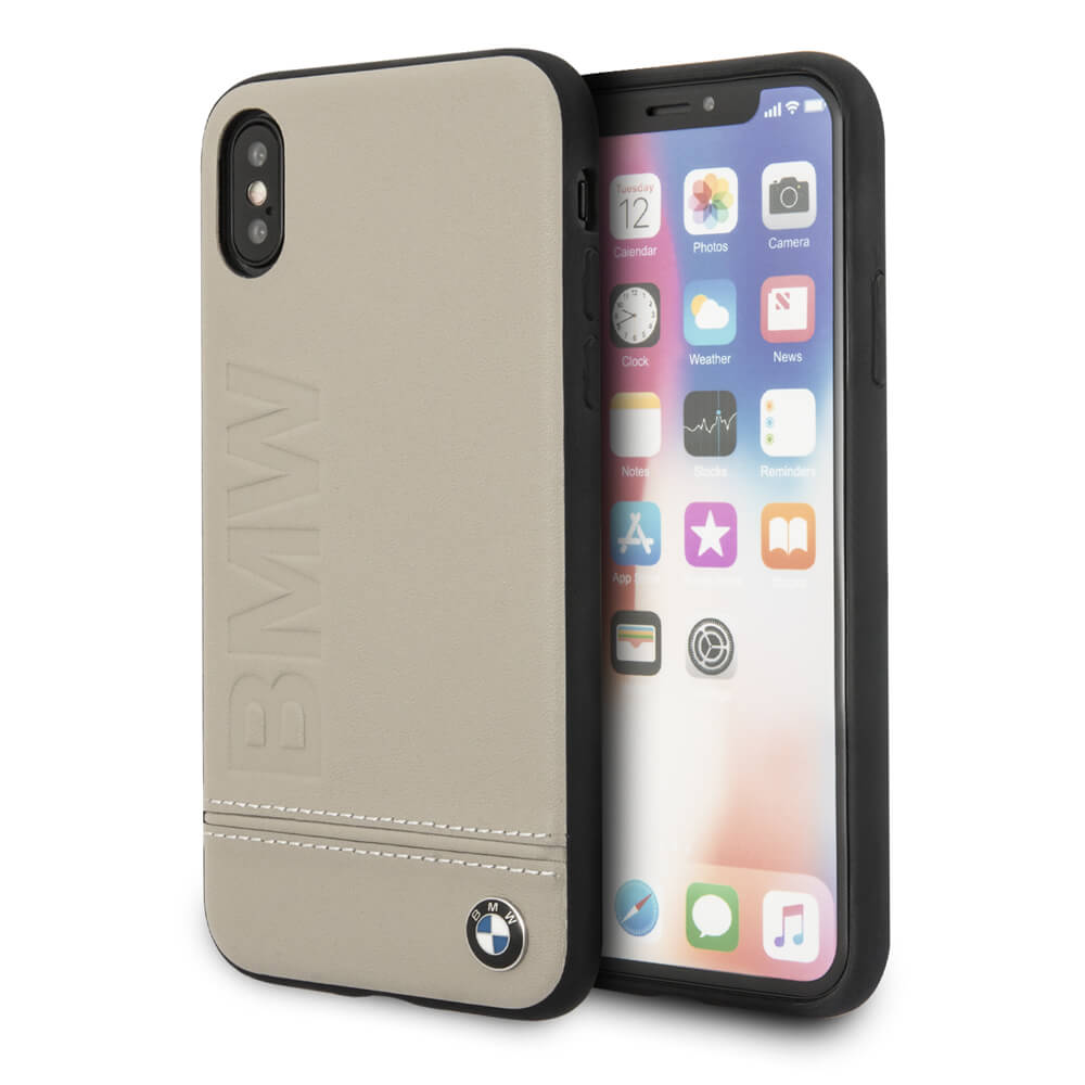 super popular db4d3 2eb33 BMW Signature Logo Leather Hard Case - кожен кейс (естествена кожа) за  iPhone XS, iPhone X (бежов)
