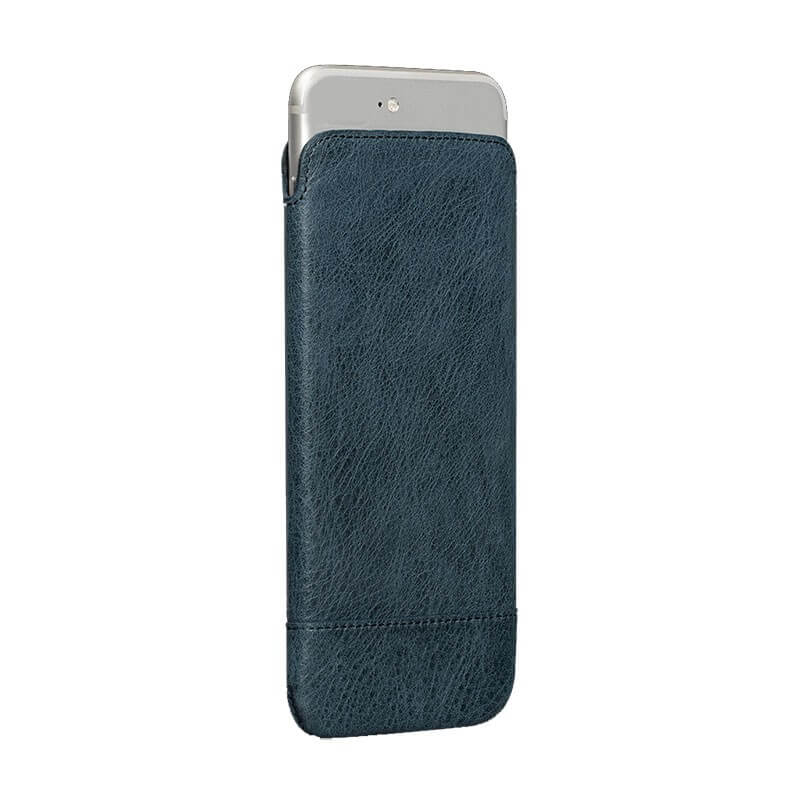 SENA Heritage UltraSlim Pouch - handmade, genuine leather case for iPhone 6, iPhone 6S (denim)