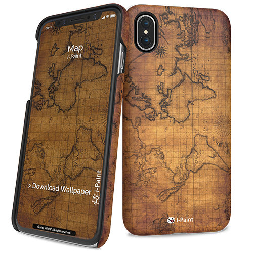 iPaint Map HC Case - дизайнерски поликарбонатов кейс за iPhone XS, iPhone X