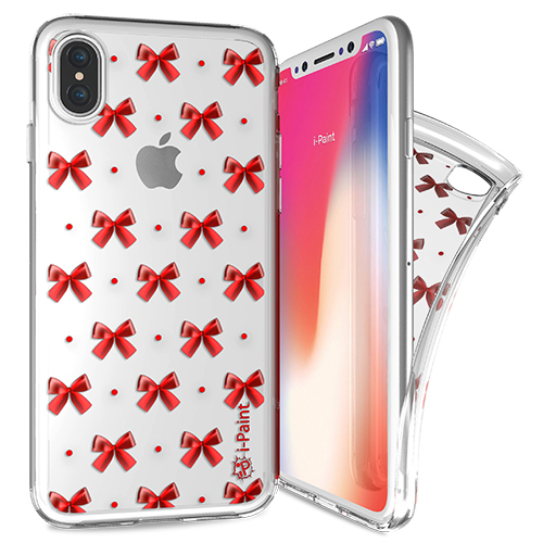 iPaint Glamour Red Bow Case - дизайнерски TPU кейс за iPhone XS, iPhone X