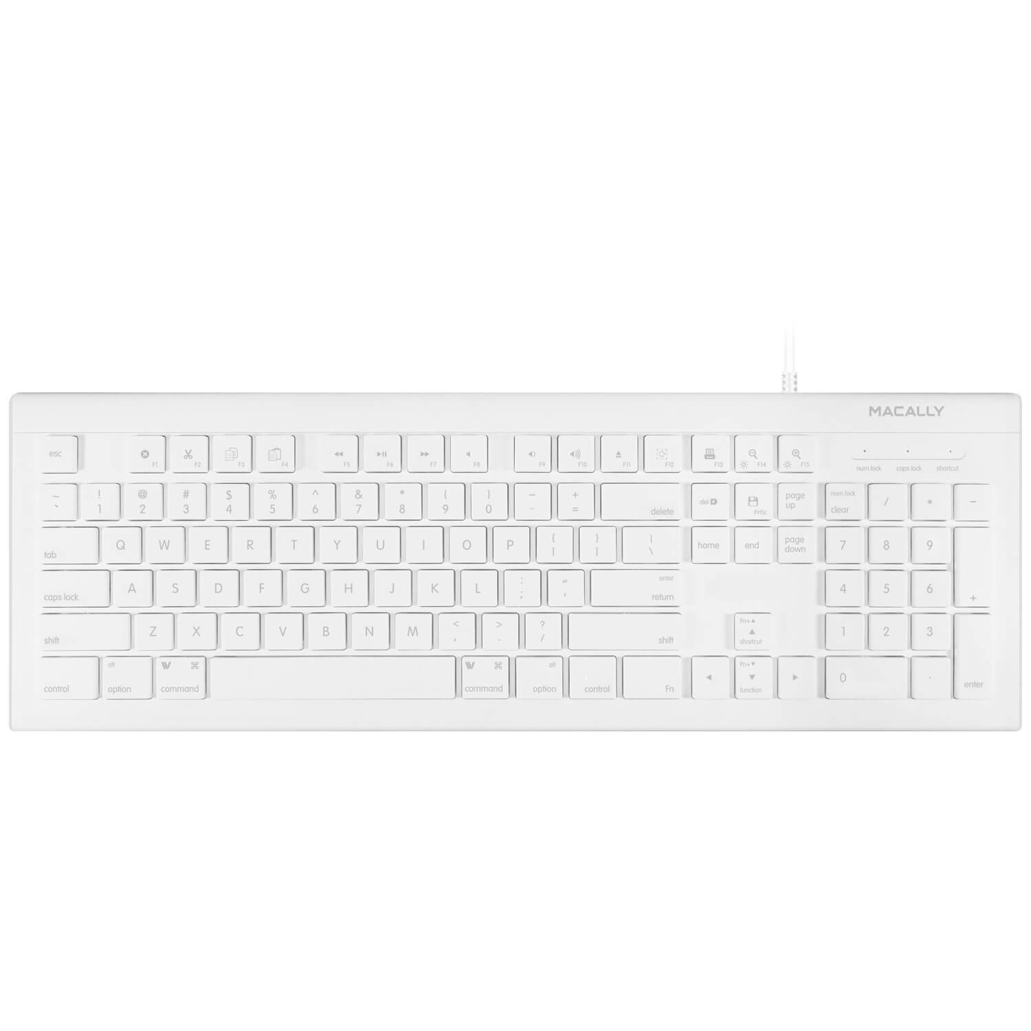 Macally 104 Key Full-Size USB Keyboard with Short-Cut Keys - USB клавиатура оптимизирана за MacBook (бял)