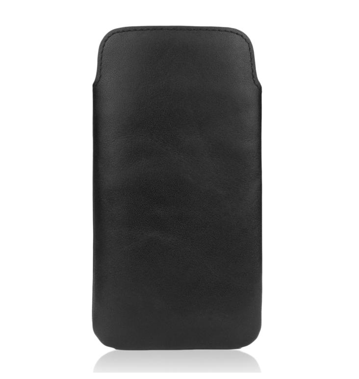 CASEual Leather Pouch - handmade, genuine leather case for iPhone 8, iPhone 7, iPhone 6, iPhone 6S (Italian Black)