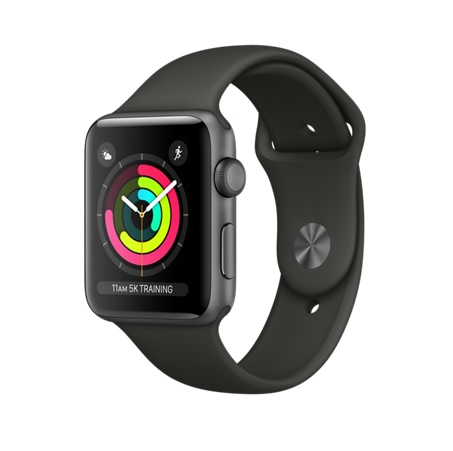 Apple Watch Series 3, 42mm Space Gray Aluminum Case with Gray Sport Band - умен часовник от Apple