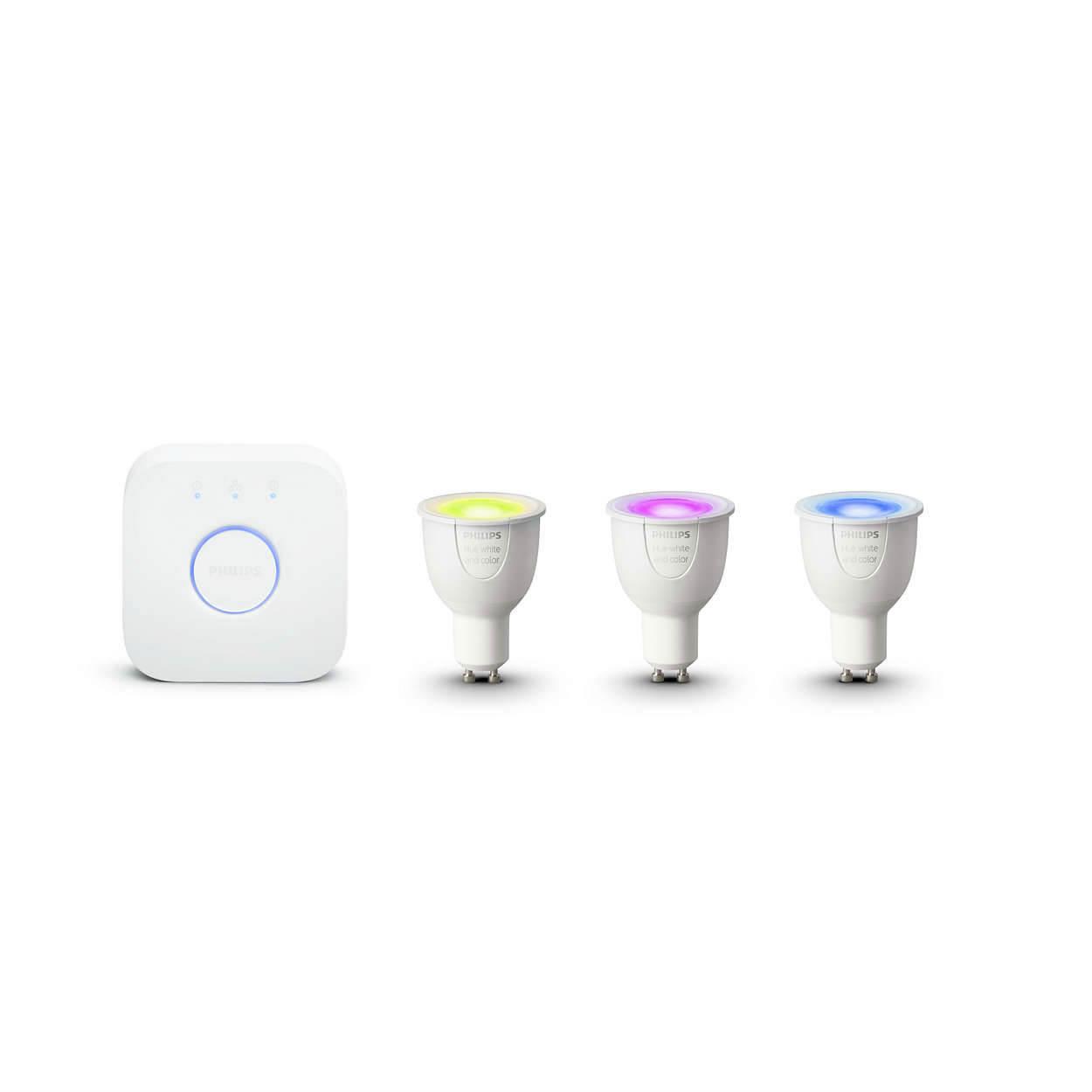 Philips Hue Home GU10 Starter Kits 3 x GU10 Bulb Bridge Included - система за безжично управляемо осветление за iOS и Android устройства