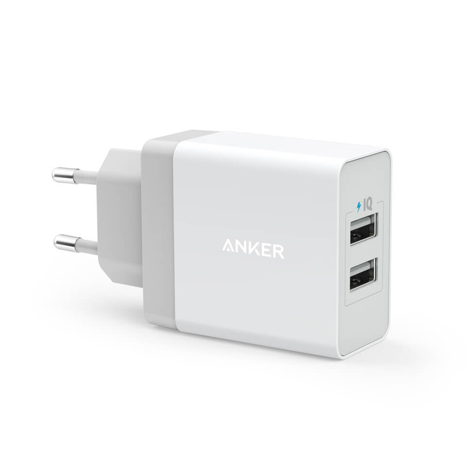 Anker PowePort 2 24W USB Charger s PowerIQ and VoltageBoost (White)