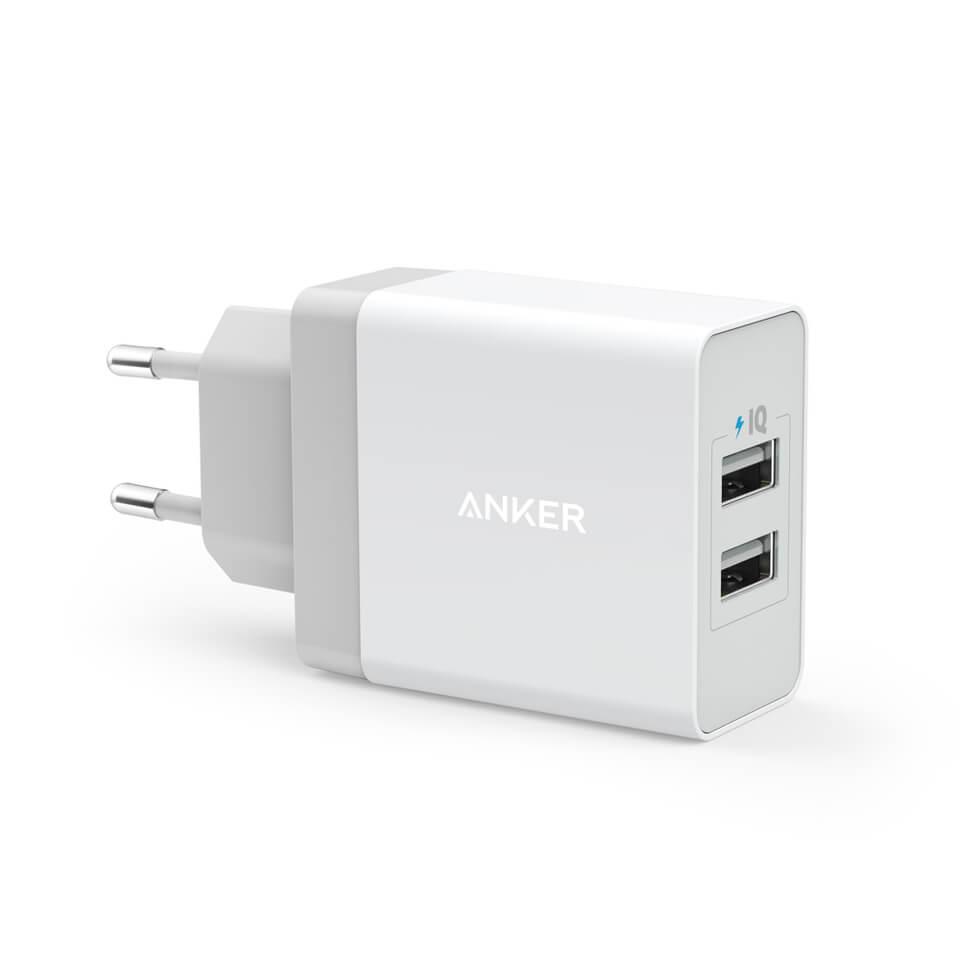 Anker PowePort 2 24W USB Charger с PowerIQ и VoltageBoost - захранване с два USB изхода и технология за бързо зареждане (бял)