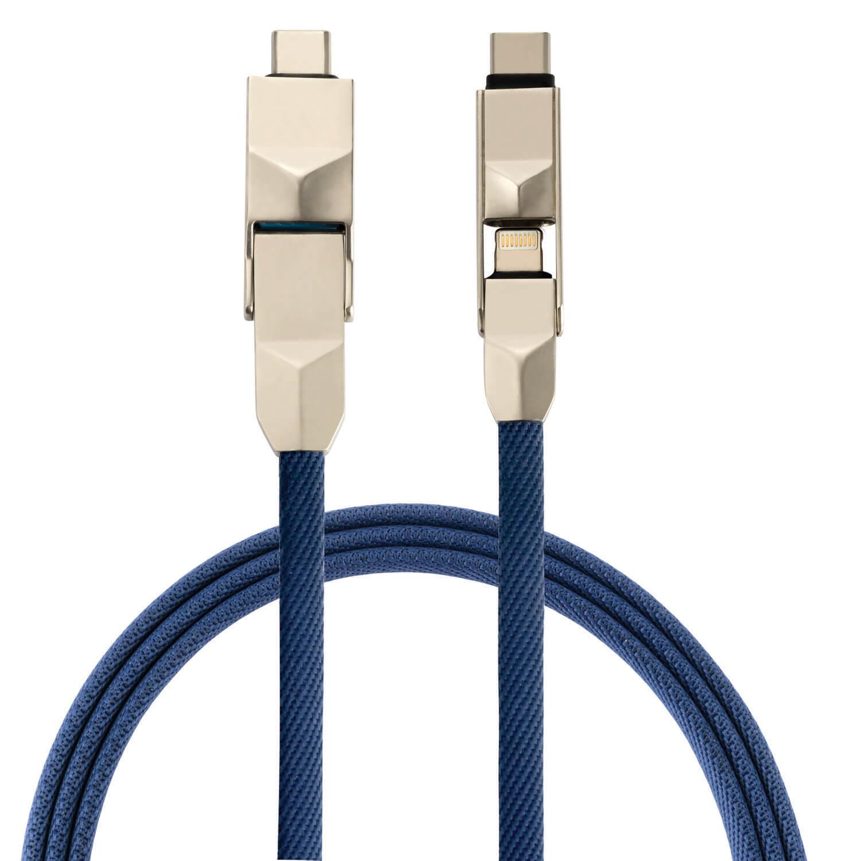 4smarts 6in1 ComboCord Cable - качествен многофункционален кабел за microUSB, Lightning и USB-C стандарти (син)