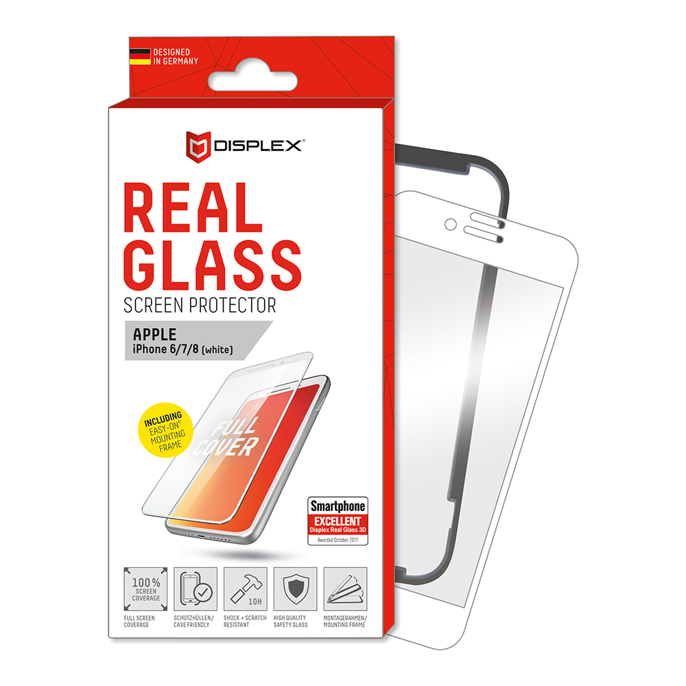 Displex Real Glass 10H Protector 3D Full Cover for iPhone 8, iPhone 7, iPhone 6S (white)