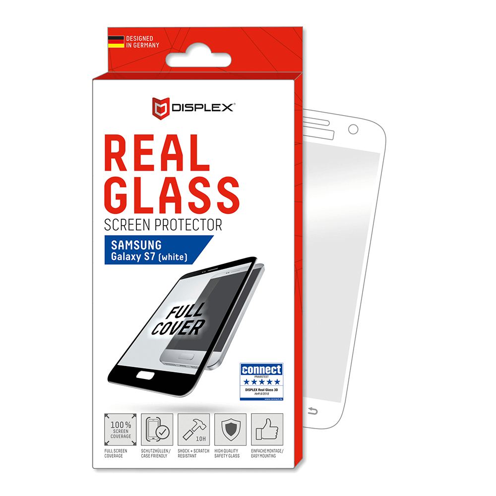 Displex Real Glass 10H Protector 3D Full Cover for Samsung Galaxy S7 (white)