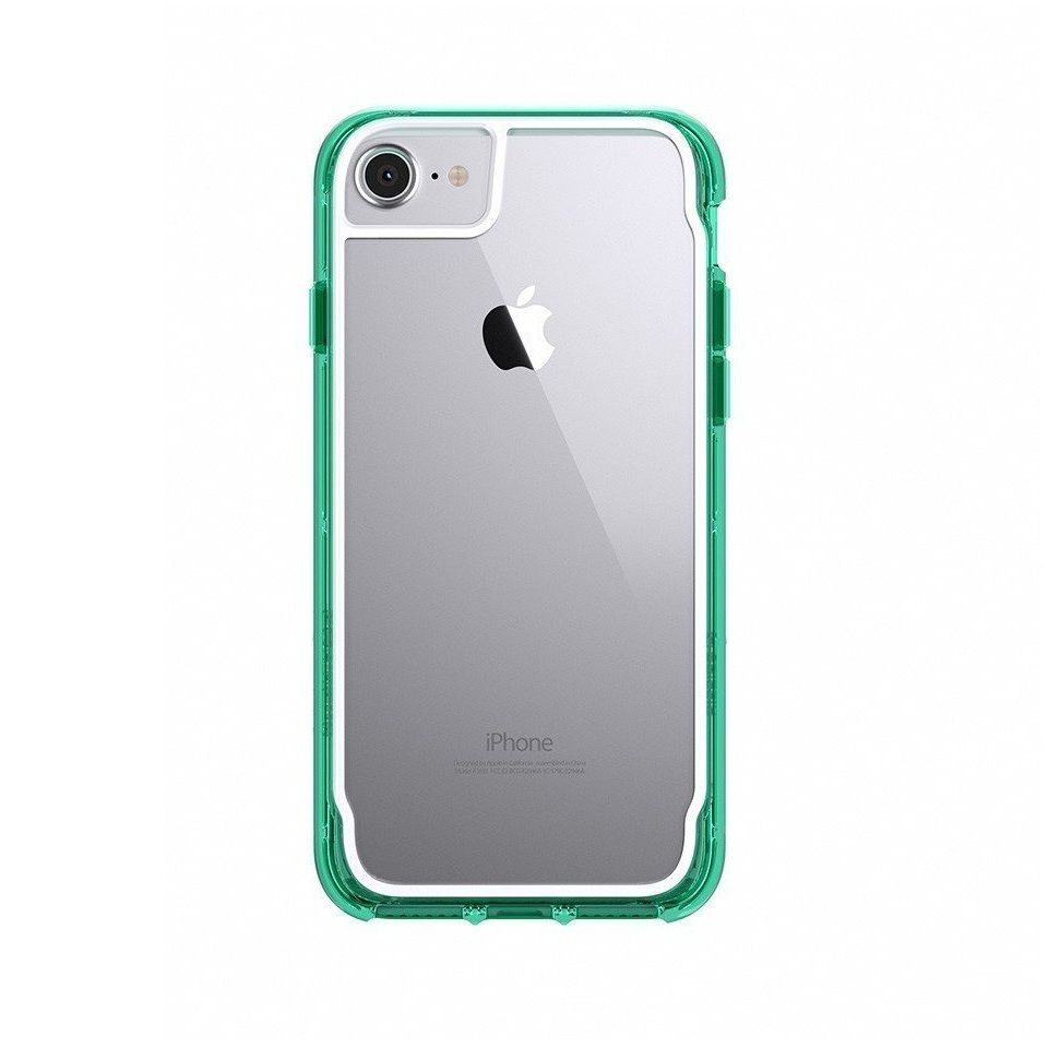 Griffin Survivor Clear Case - хибриден удароустойчив кейс за iPhone 8, iPhone 7, iPhone 6S, iPhone 6 (прозрачен-зелен)