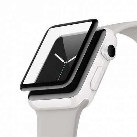 Belkin ScreenForce UltraCurve Screen Protector - калено стъклено защитно покритие с извити ръбове за целия дисплея на Apple Watch Series 3/2 38 mm (черен-прозрачен)
