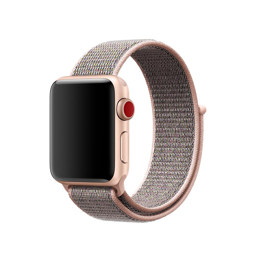 Apple Pink Sand Sport Loop - оригинална текстилна каишка за Apple Watch 38мм, 40м (розов) (bulk)