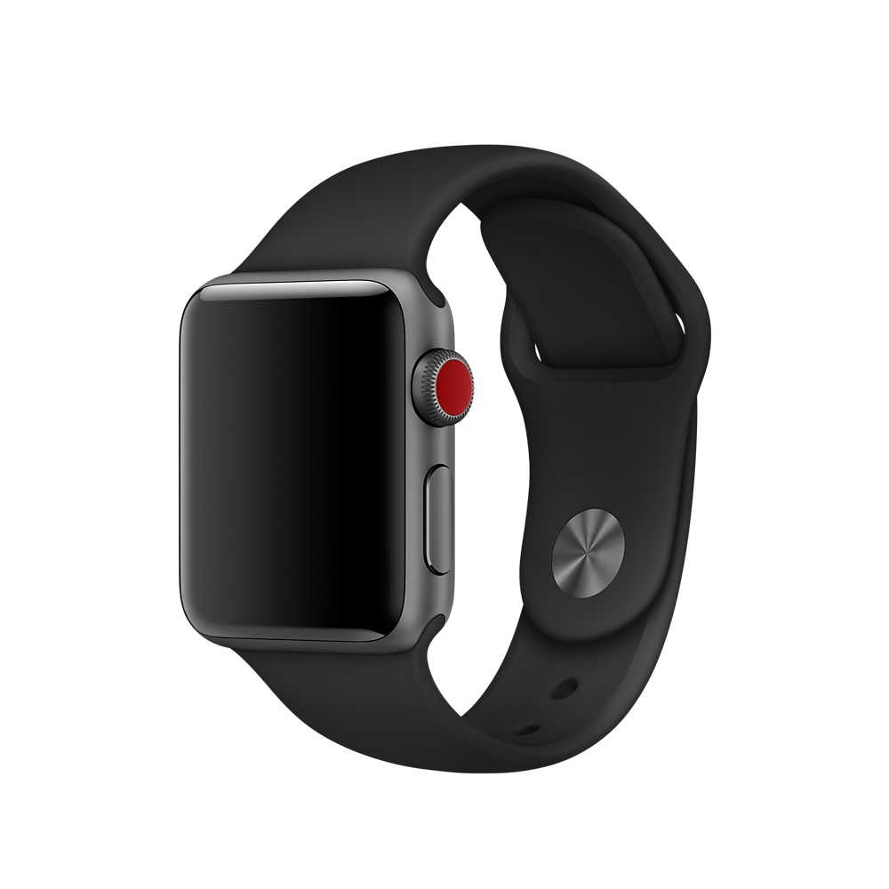 Apple Sport Band S/M & M/L - оригинална силиконова каишка за Apple Watch 42мм, 44мм (черен) (Apple Box) (reconditioned)