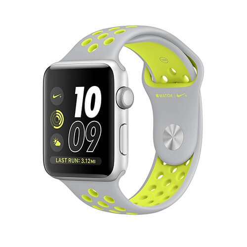 Apple Watch Nike+ Sport Band - оригинална силиконова каишка за Apple Watch 38мм, 40мм (сив-жълт) (reconditioned) (Apple Box)