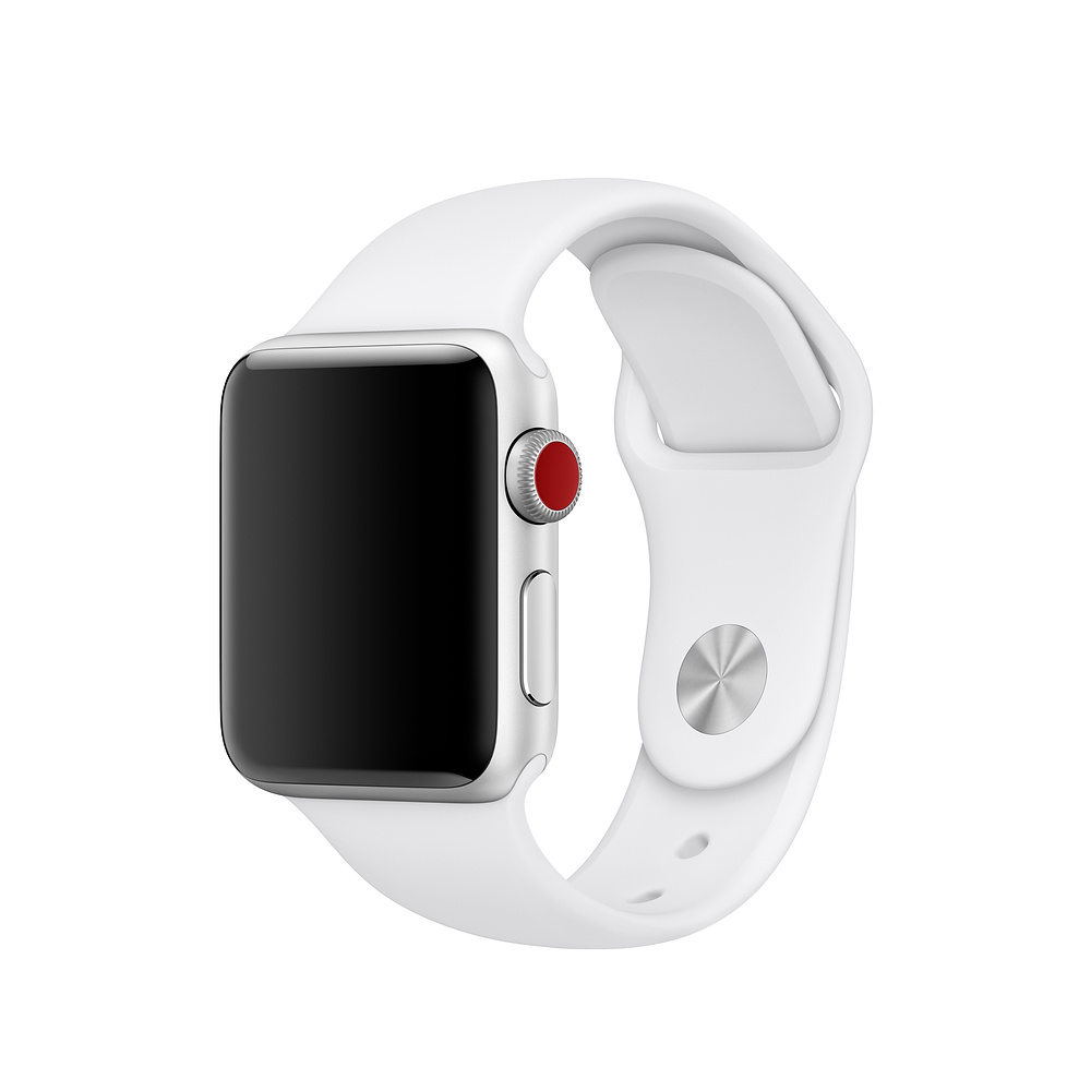 Apple Sport Band S/M & M/L - оригинална силиконова каишка за Apple Watch 42мм, 44мм (бял) (Apple Box) (reconditioned)