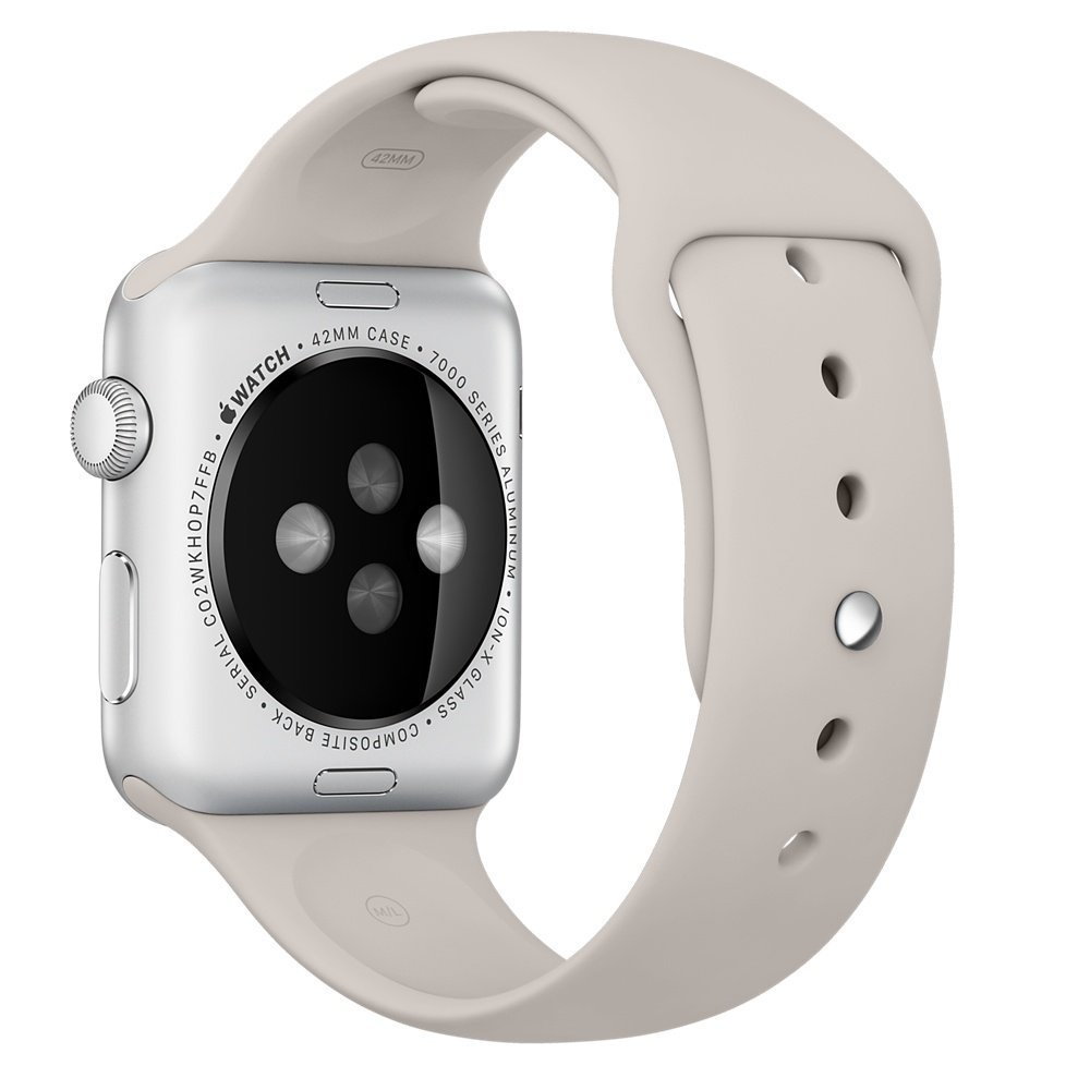 Apple Sport Band S/M & M/L - оригинална силиконова каишка за Apple Watch 42мм, 44мм (сив) (reconditioned) (Apple Box)
