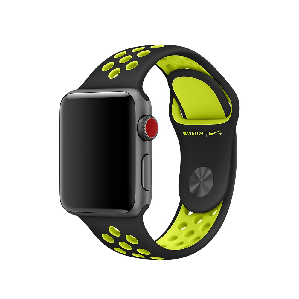 Apple Watch Nike+ Sport Band - оригинална силиконова каишка за Apple Watch  42мм, 44мм (черен-жълт) (reconditioned) (Apple Box)