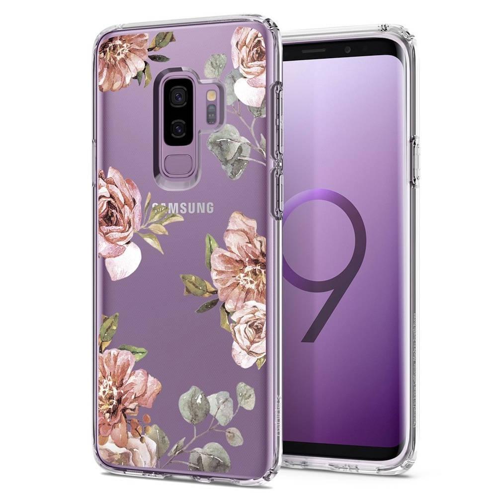 Spigen Liquid Crystal Blossom Flower Case - тънък качествен термополиуретанов кейс за Samsung Galaxy S9 Plus (прозрачен)