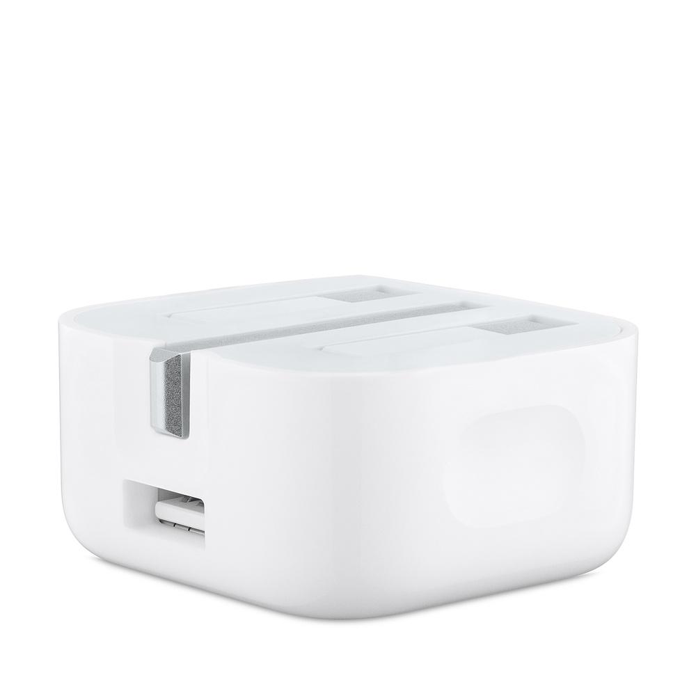 Apple USB Power Adapter 5W Folding Pins - оригинално сгъваемо захранване с USB изход за Apple Watch и смартфони (UK стандарт) (reconditioned) (bulk)