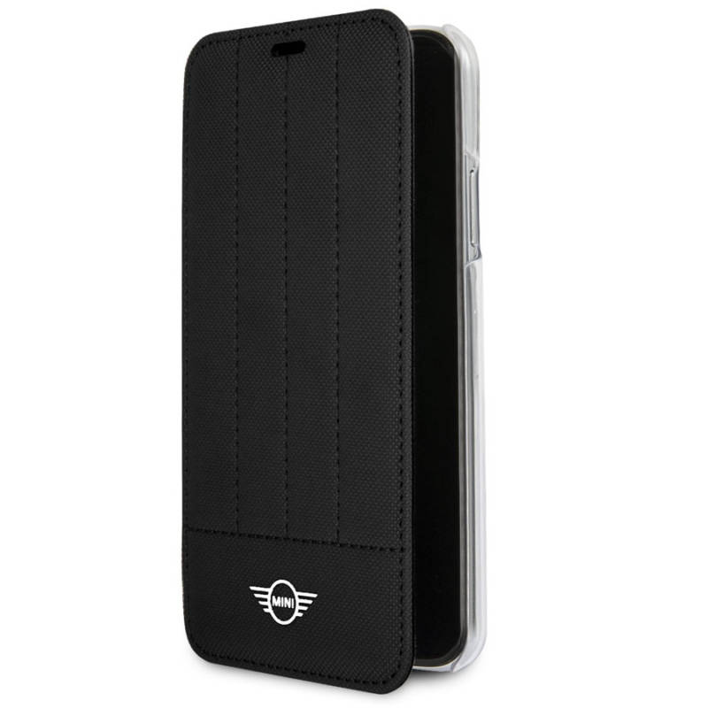 Mini Cooper Debossed Lines PU Leather Booktype Case - кожен калъф, тип портфейл за iPhone XS, iPhone X (черен)
