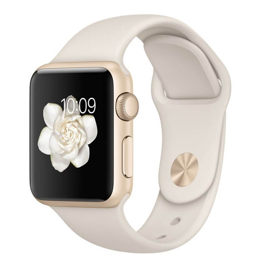 Apple Sport Band S/M & M/L 316L Gold Stainless Steel Pin - оригинална силиконова каишка за Apple Watch 38мм, 40мм (бял) (reconditioned) (Apple Box)