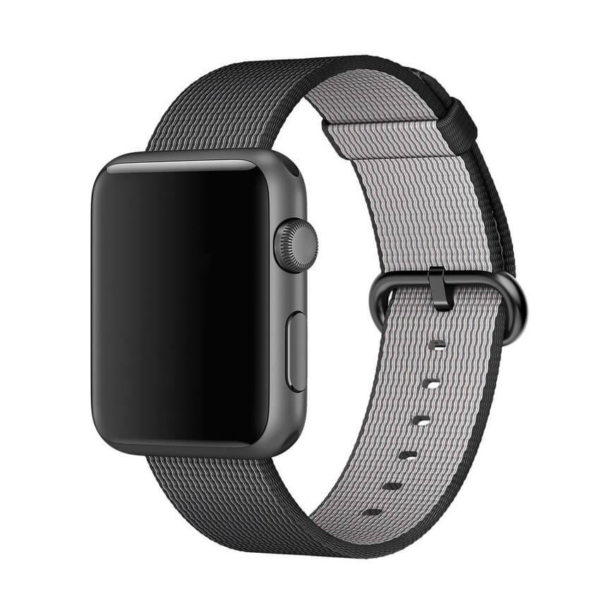 Apple Woven Black - оригинална текстилна каишка за Apple Watch 38мм, 40мм (черен) (reconditioned) (Apple Box)