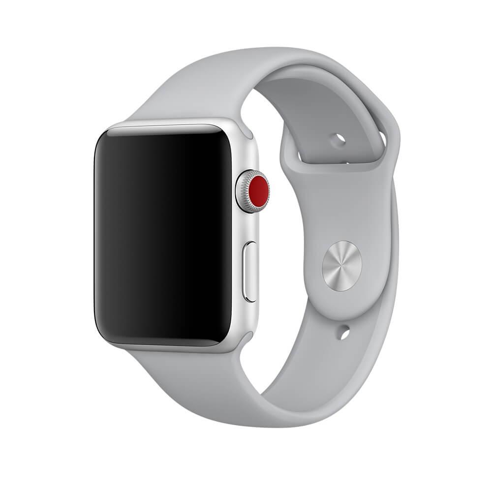 Apple Sport Band S/M & M/L - оригинална силиконова каишка за Apple Watch 38мм, 40мм (бледосив) (Apple Box)