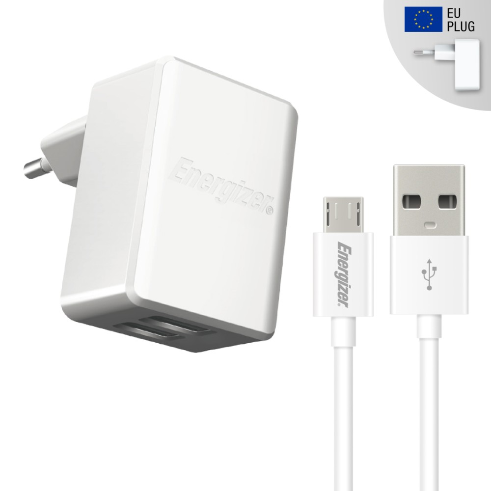 Energizer 3.4A Wall Charger with microUSB Cable - захранване за ел. мрежа 3.4A с два USB изхода и microUSB кабел (бял)