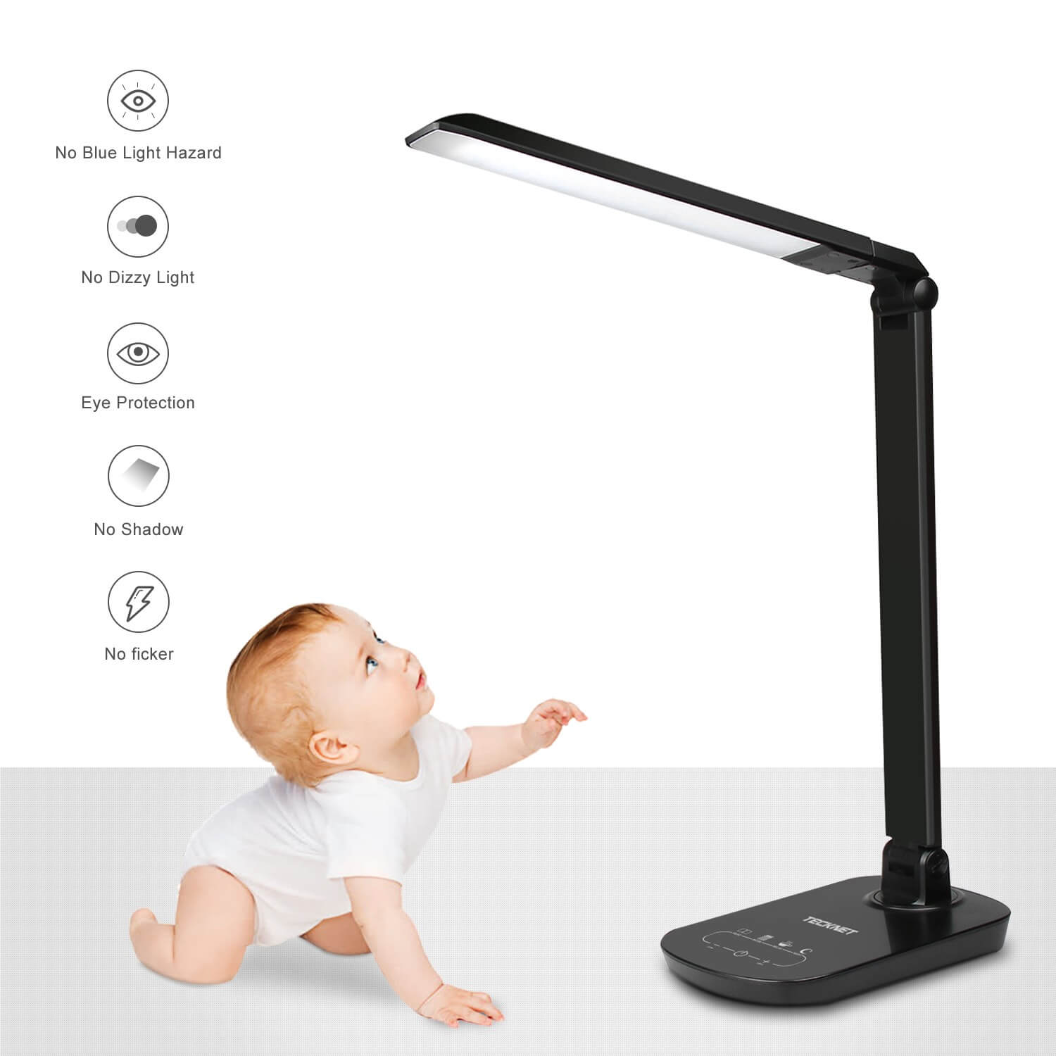 TeckNet LED12 15W EyeCare Dimmable LED Desk Lighting With Touch Control - настолна LED лампа със защита за очите, USB порт и нагласяща се основа