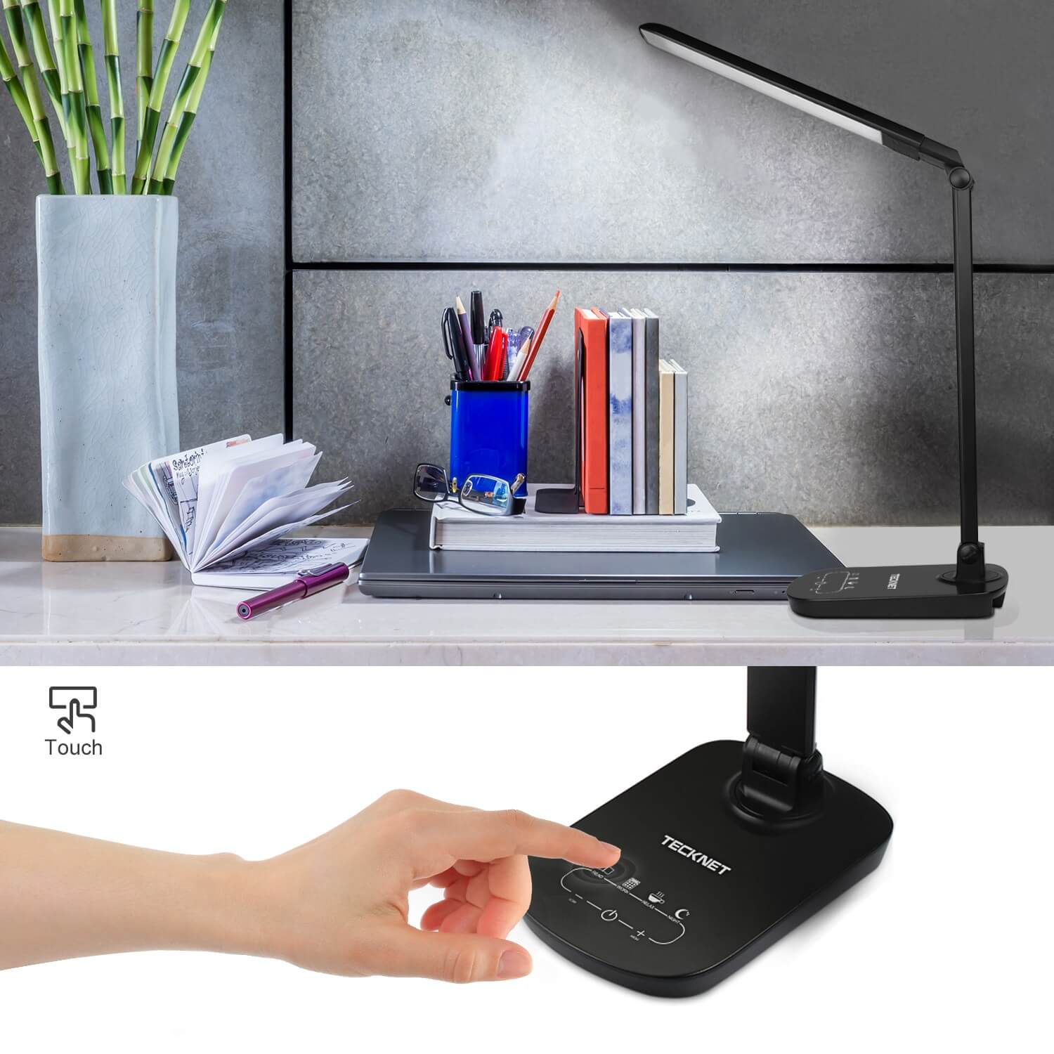 Tecknet Led12 15w Eyecare Dimmable Led Desk Lighting With Touch Control 3